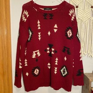 4 / $25 Thick Oversized Red Tribal Sweater